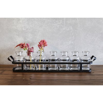 Set of 8 Glass Bottles with Metal Tray