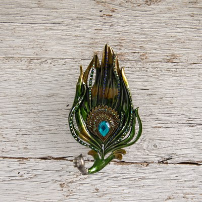 Jeweled Peacock Feather Trinket Tray