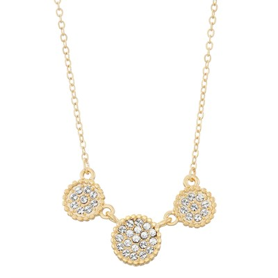 Swarovski Crystal Circle Necklace - 14K Gold