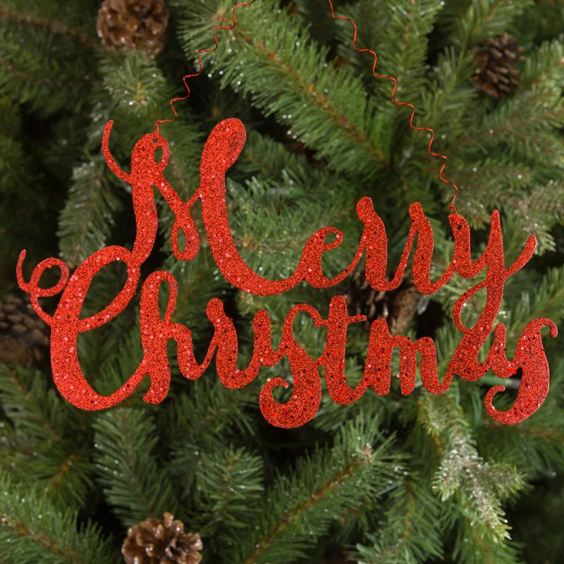 metal merry christmas script ornament 0