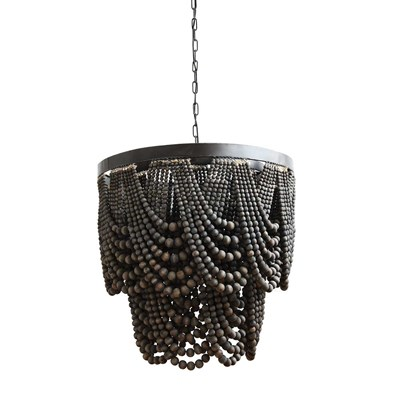 Metal and Wood Beaded Chandelier - Black