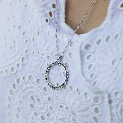 Multi Colored Circle Pendant Necklace