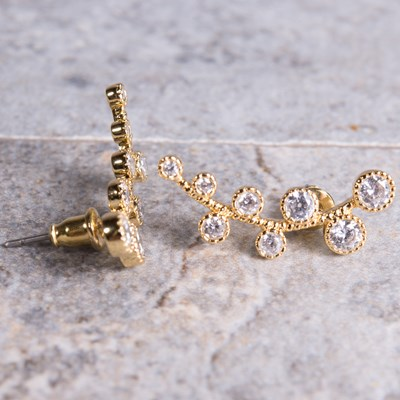 Gold Crawler Vine Earring
