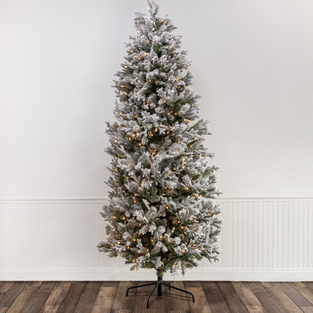 Gray Christmas Tree.7 5 Pre Lit Flocked Spruce Christmas Tree