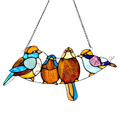Tiffany Style Stained Glass Song Birds Window Panel