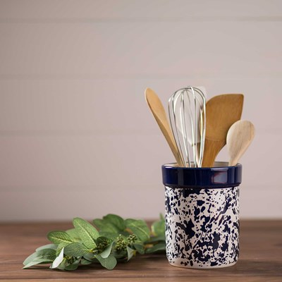 Blue Splatterware Utensil Holder