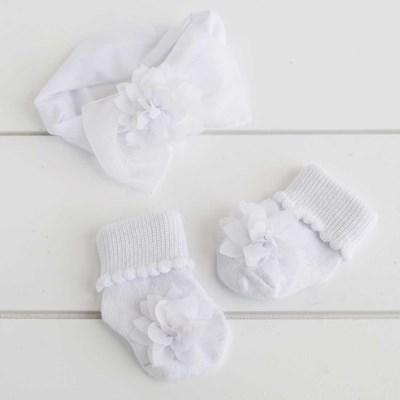 Kid's Flower Headwrap and Sock Set