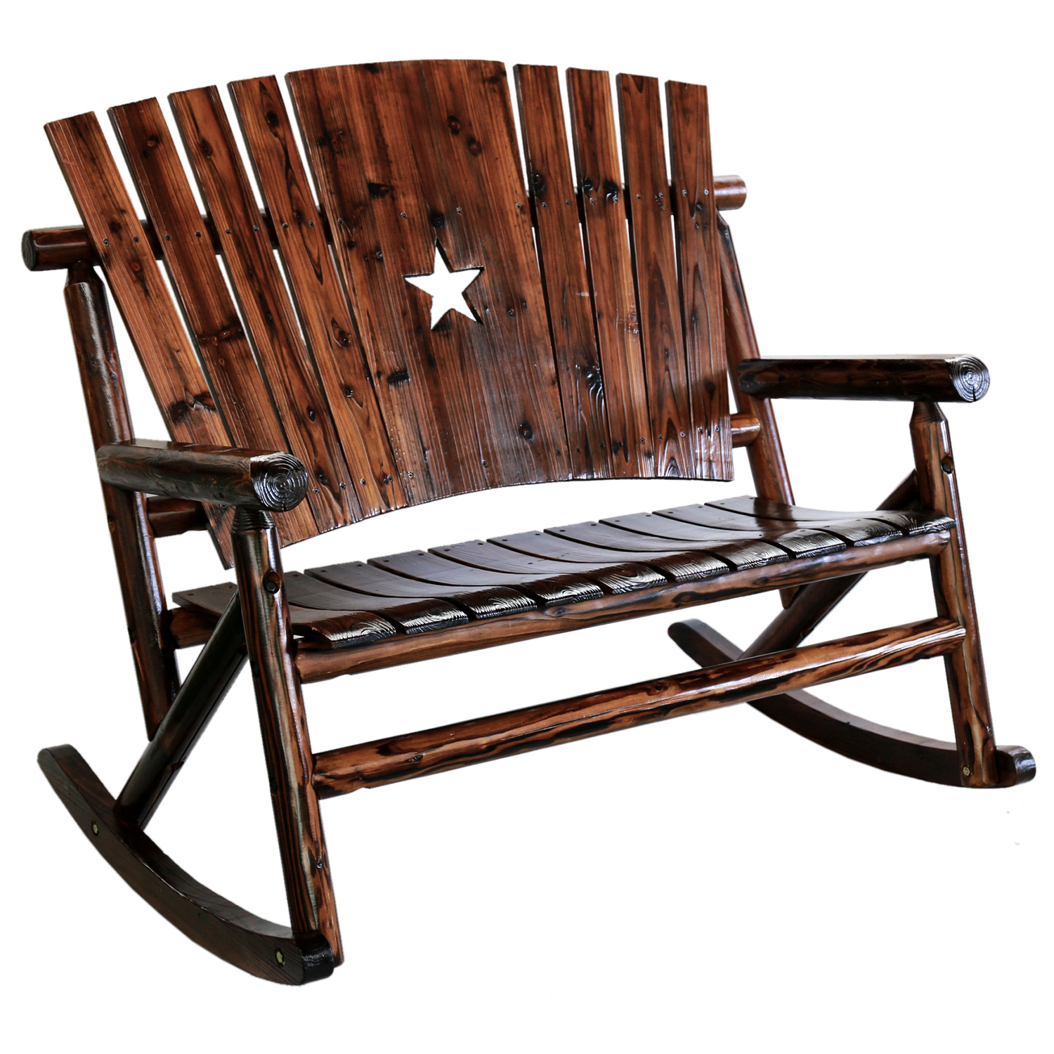 Char Log Wooden Star Double Rocker