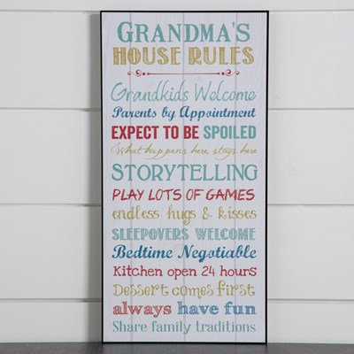 Grandmas House Rules Wall Decor