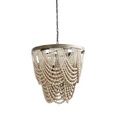 Metal and Wood Beaded Chandelier
