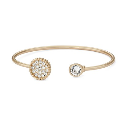 Swarovski Crystal Circle Bangle Bracelet - 14K Gold