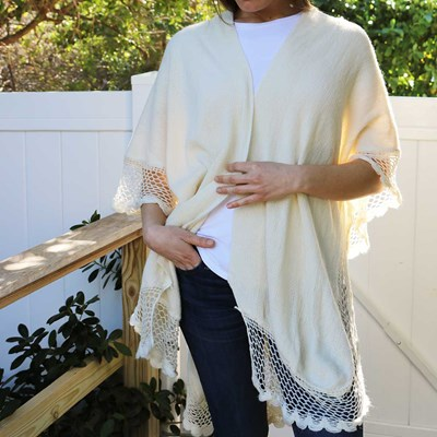 Open Weave Border Sweater Shawl