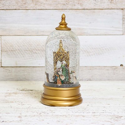 Gold Spinning Nativity Glitter Globe