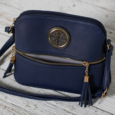 Medallion Crossbody Bag with Tassels