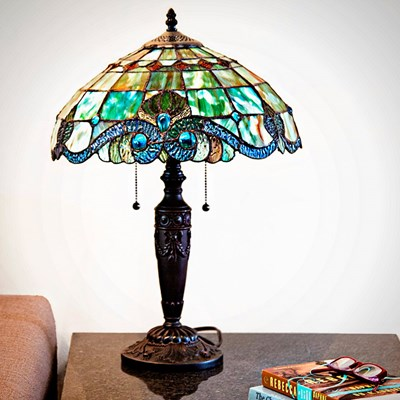 Vivienne Baroque Style Stained Glass Green Table Lamp