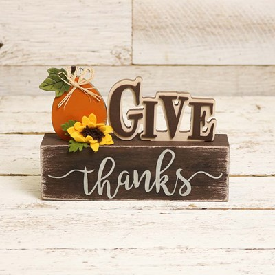 Give Thanks Stacked Block Sign