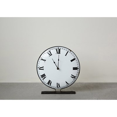 White Metal Standing Clock