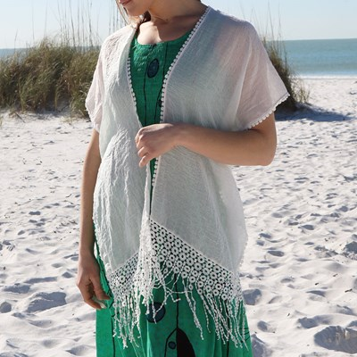 Crochet Back Fringe Trim Cardigan