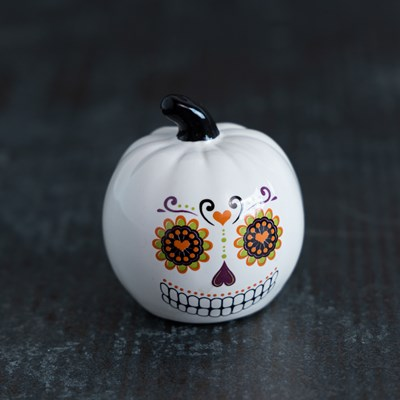Mini Sugar Skull Pumpkin Salt Shaker