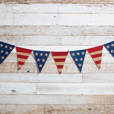 Stars and Stripes Burlap Pennant Banner