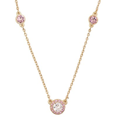 Swarovski Crystal Pink Halo Necklace - 14K Gold