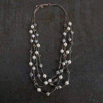 4-Strand Pearl and Bead Necklace