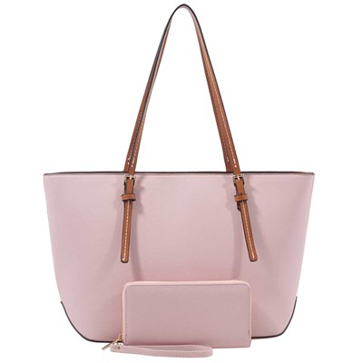 Blush Top-Zip Tote with Matching Wallet