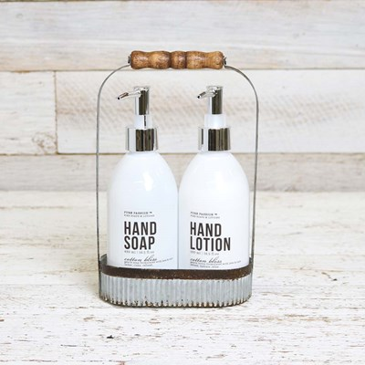 Hand Soap and Lotion in a Rustic Caddy