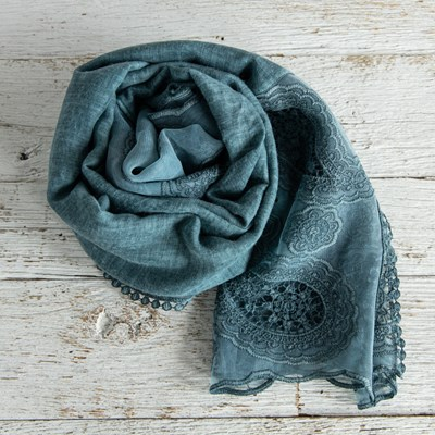 Oh Gussie! Teal Lace Trim Scarf