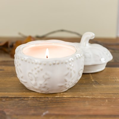 White Pumpkin Ceramic Candle