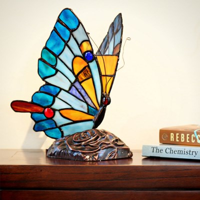Tiffany Style Stained Glass Butterfly Accent Lamp - Blue