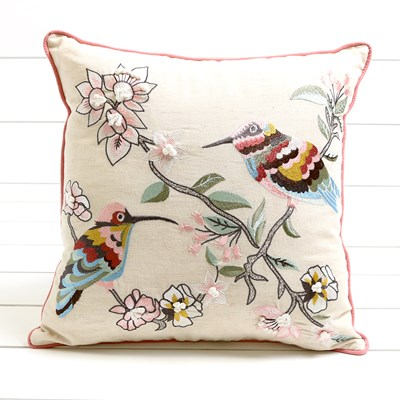 Embroidered Bird Accent Pillow