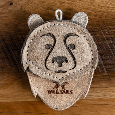 Leather Bear Dog Toy