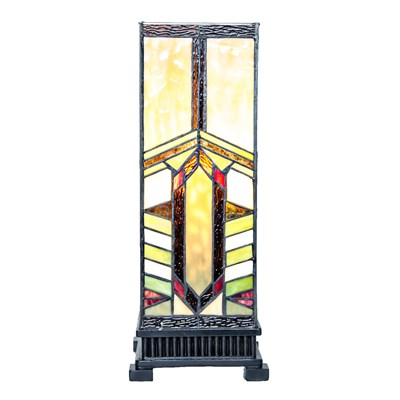 Mission Style Stained Glass Pillar Table Lamp