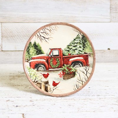 Stoneware Red Truck Salad Plate