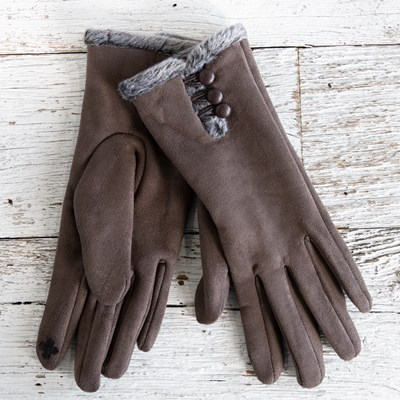 Brown Faux Suede Gloves with Buttons