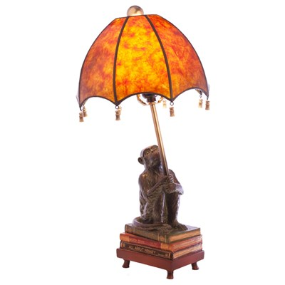 Monkeying Around Antiqued Resin Table Lamp