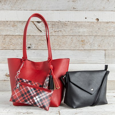Red and Plaid 3-Piece Bag Set