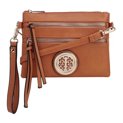Tan Convertible Medallion Crossbody