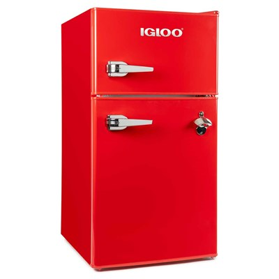 Classic Refrigerator Double Door - Red