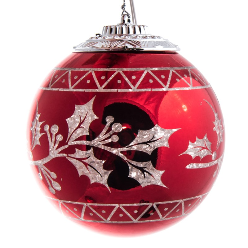 led light up ball ornament holly 0