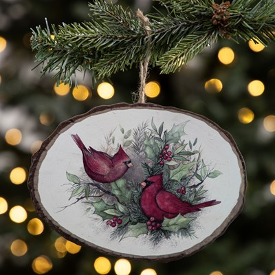 Wood Slice Ornament - Cardinals