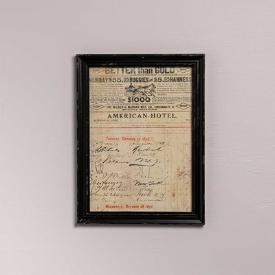 1896 Hotel Ledger Framed Wall Decor