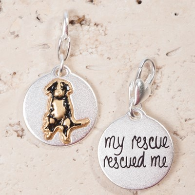 """My Rescue Rescued Me"" Dog Charm"