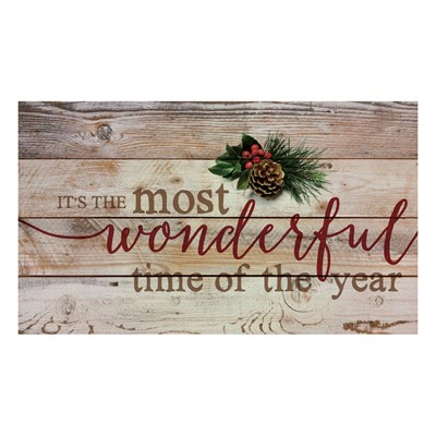 """Most Wonderful Time of the Year"" Pine Pallet Wall Decor"