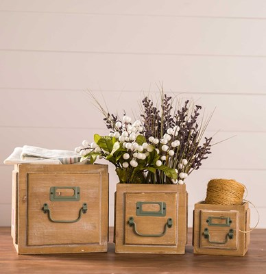 Wooden Storage Boxes - Set of 3