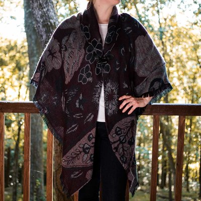 Floral Toggle Shawl - Navy and Wine