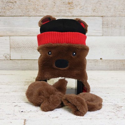 Toddler Brown Plush Bear Hat with Mittens