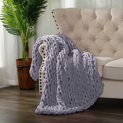 Chenille Knitted Throw - Periwinkle
