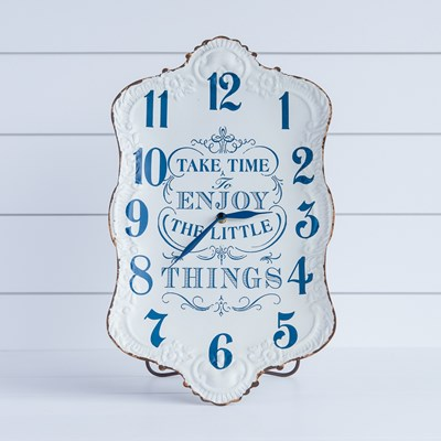 """Enjoy the Little Things"" Metal Wall Clock"
